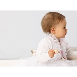 White Long Sleeve Baby Girl Christening Bolero Style GB003