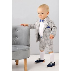 Chequered Gray Baby Boys Special Occasion Outfit Style A006+