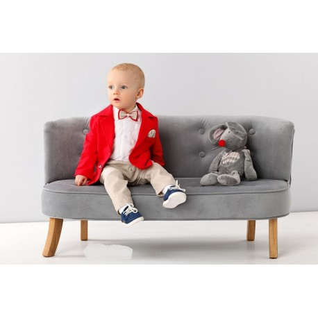 White/Red/Beige Baby Boy Special Occasion Outfit Style A008