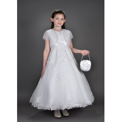 Beautiful Poinsettia Communion Dress with Bolero Style CT5105A Nina