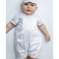 Sarah Louise Baby Boy Christening White Romper with Bonnet Style 002226