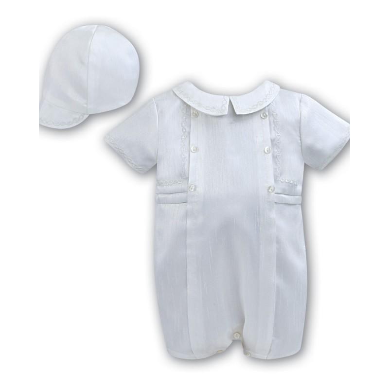 b628e761e1eb ... Sarah Louise Baby Boy Christening White Romper with Bonnet Style 002226