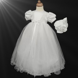 Beautiful White Christening Gown & Bonnet Style 402