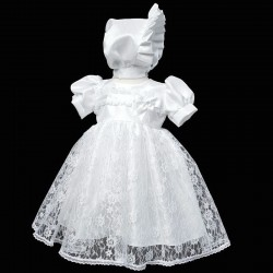 White Christening Baby Girl Dress & Bonnet Style 906