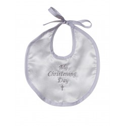 White Baby Christening Bib for Boys and Girls CRB2
