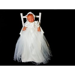 Ivory Satin Christening Gown by River Oak style cr210w
