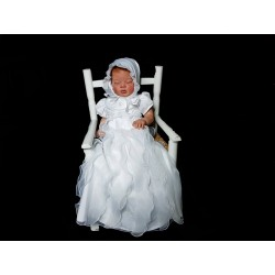 White Baby Girl Christening Gown & Bonnet Style D9092A