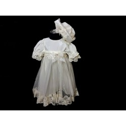 Ivory Baby Girl Christening Dress & Bonnet Style MEGAN
