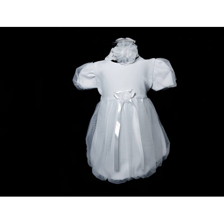 Simple White Christening Dress with Headband Style DOVIA