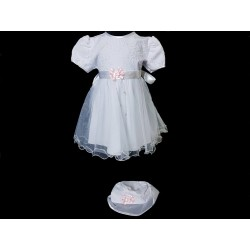 White/Pink Christening Baby Girl Dress & Bonnet Style ANGELINA BIS