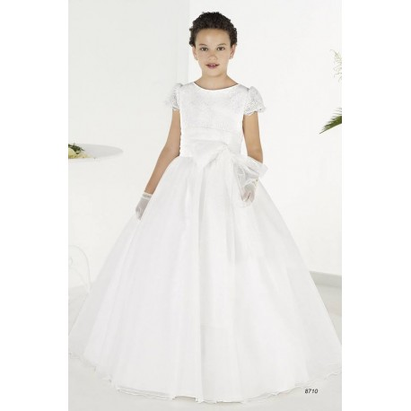 19c96f74ecd Lovely White First Holy Communion Dress Style 8710
