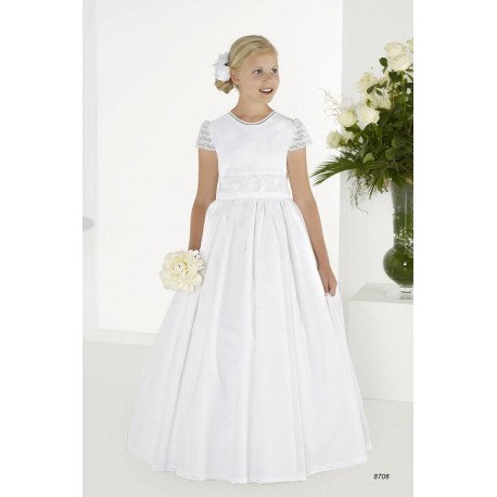 Elegant White First Holy Communion Dress Style 8706