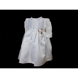 White/Pink Christening Baby Girl Dress Style LEONA