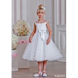 Unusual First Holy Communion Ballet Length Dress Style KATHY