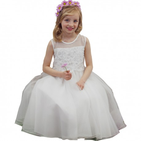 Sevva Ivory Shiny Tulle Flower Girl Dress Style H9408