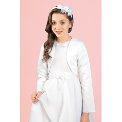 White Satin First Holy Communion Bolero Style Pb-09