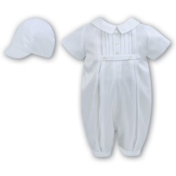 White Baby Boy Christening Romper & Bonnet by Sarah Louise Style 002228