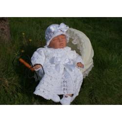 Baby Girl Christening Crochet Handmade White Jacket Style DAISY