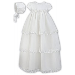 Sarah Louise Ivory Baby Girl Christening Gown & Bonnet Style 001148
