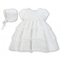 Sarah Louise Ivory Christening Baby Girl Dress & Bonnet Style 001150