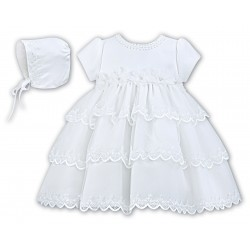 Sarah Louise White Christening Baby Girl Dress & Bonnet Style 001150
