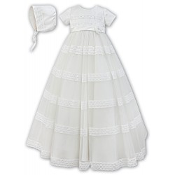 Sarah Louise Ivory Baby Girl Christening Gown & Bonnet Style 001170