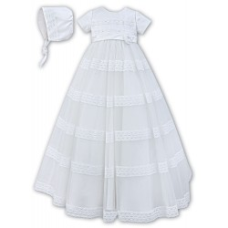 Sarah Louise White Baby Girl Christening Gown & Bonnet Style 001170