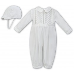 Ivory Long Sleeved Christening Romper by Sarah Louise Style 011250