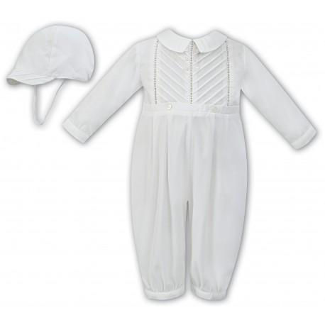 Ivory Long Sleeved Christening Romper by Sarah Louise Style 011250 adfda5268