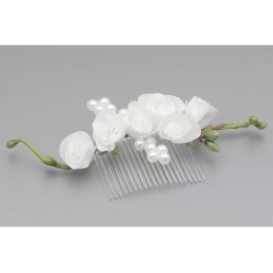 White/Green First Holy Communion Hair Comb Style WS-015