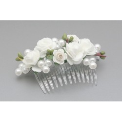 White/Green First Holy Communion Hair Comb Style WS-006