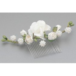 White/Green First Holy Communion Hair Comb Style WS-014