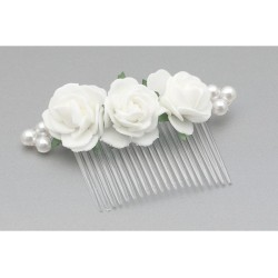 White/Green First Holy Communion Hair Comb Style WS-017