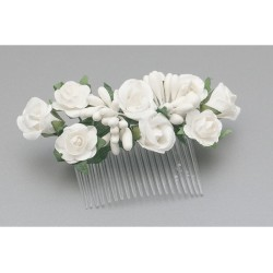 White/Green First Holy Communion Hair Comb Style WS-018