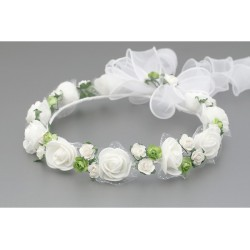 White/Green First Holy Communion Headdress Style W-013