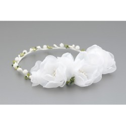 White/Green First Holy Communion Headdress Style W-074