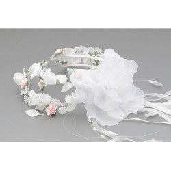 White/Green/Pink First Holy Communion Headdress for a Bun Style WK-015