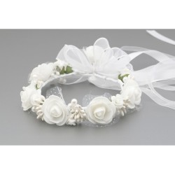 White/Green First Holy Communion Headdress for a Bun Style WK-006