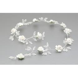 White/Green First Holy Communion Headdress Style WG-015