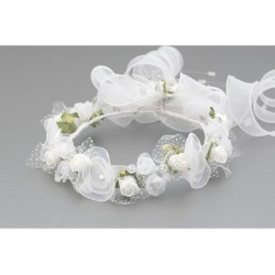 White/Green First Holy Communion Headdress for a Bun Style WK-003