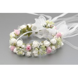 White/Green/Pink First Holy Communion Headdress for a Bun Style WK-021
