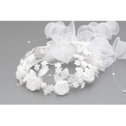 White First Holy Communion Headdress for a Bun Style WK-002