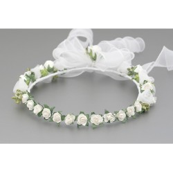 White/Green First Holy Communion Headdress Style W-045