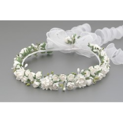 White/Green First Holy Communion Headdress Style W-018
