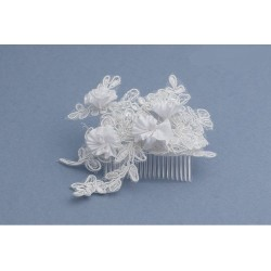 White First Holy Communion Hair Comb Style SN-019