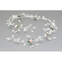 White/Green/Pink First Holy Communion Headdress Style WG-011