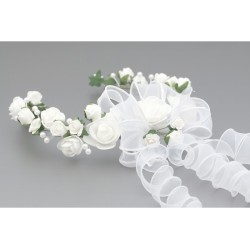 White/Green First Holy Communion Headdress Style W-095