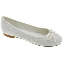 White Lace First Holy Communion Shoes Style 909