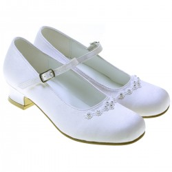 White Satin First Holy Communion Shoes Style 5145