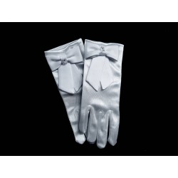 White Satin First Holy Communion Gloves Style CG793